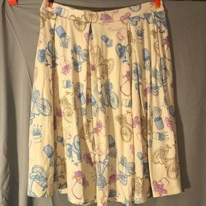 LulaRoe Bike Print Yellow Madison Skirt Size M